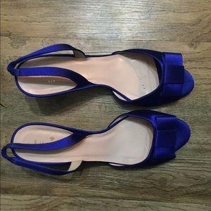 Kate Spade Blue Sapphire Satin Slingback Shoes 9.5